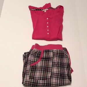 Victoria's Secret pink and black plaid pj set